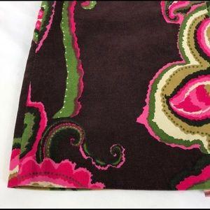 Trina Turk Brown Pink Paisley Corduroy Mini Skirt